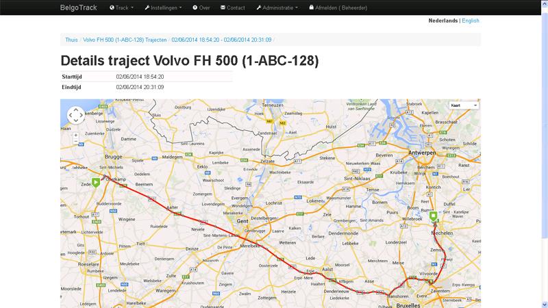 Afgebeeld traject op de kaart